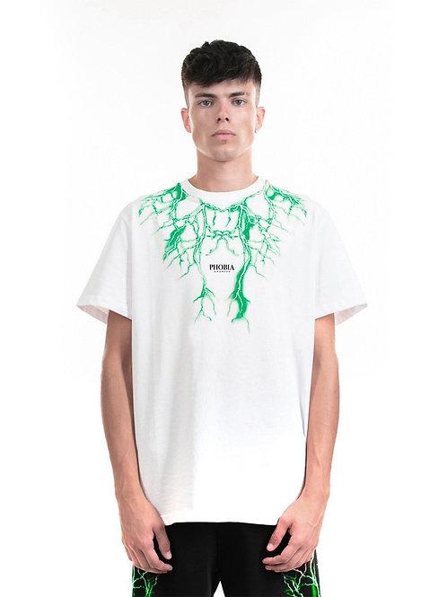 Phobia archive t-shirt lightning white green