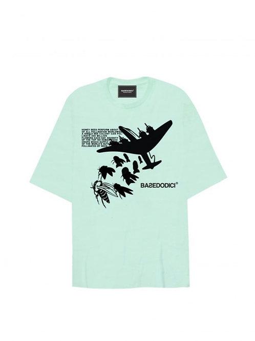"Basedodici t-shirt oversize ""bomb bees"" green"