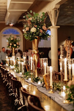 Gold Taper Candlesticks with shields