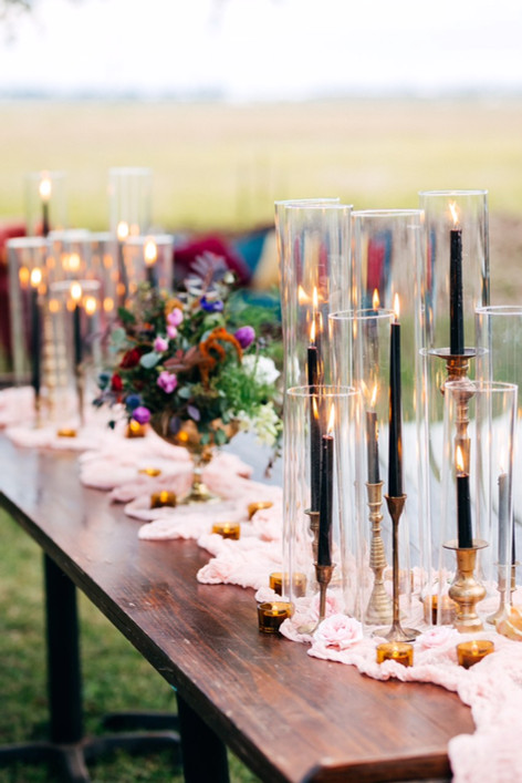 Taper candlesticks w/ shields