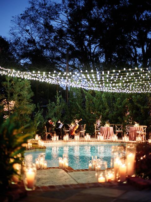 Candlelit backyard