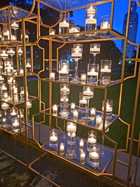 Floating candles in Gold Shelves