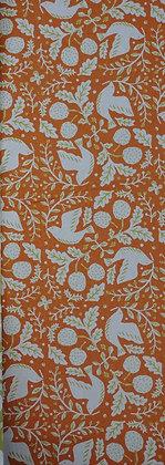 Birds in Orange cotton/flax print