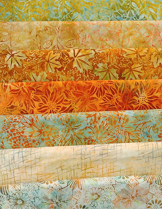 Fall Batiks one yard bundle of seven - group one