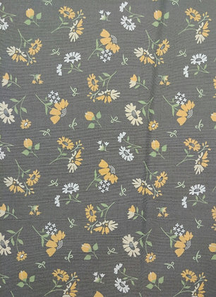 Spring Brook Gray with Yellow Flowers fabric by the yard