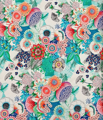 Mika white/multi floral from Quilting Treasures