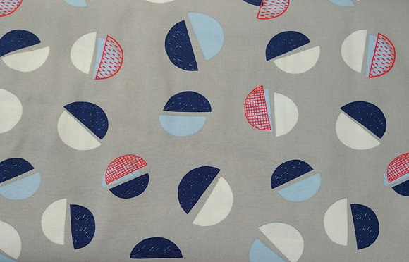 The Rain in Spain gray bowls fabric by the yard