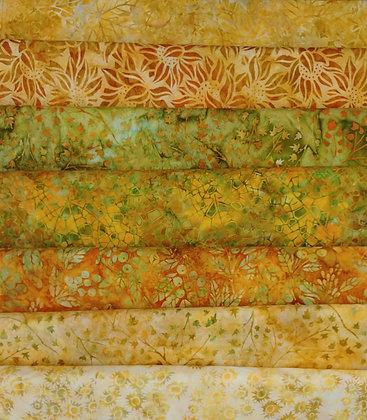 Fall Batiks one yard bundle of seven - group two