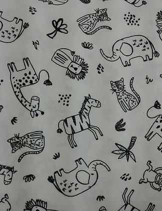 Safari Mates white with black fabric by the yard