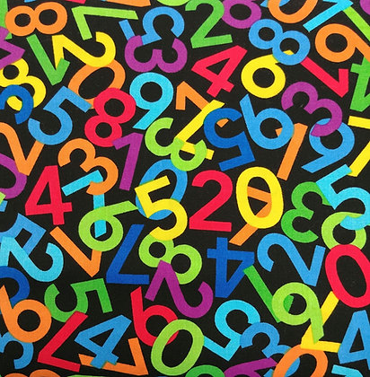 Numerals Multi black fabric by the yard
