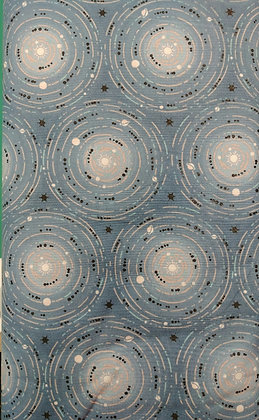 Moonlight medium blue with stars fabric by the yard