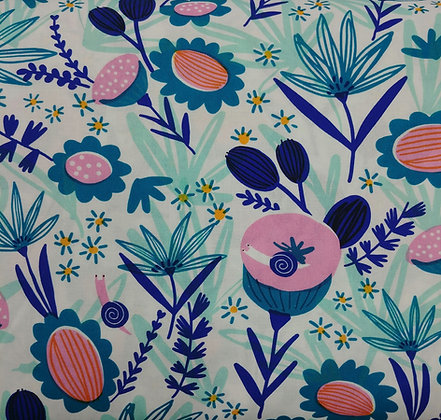 Escargot For It white print fabric by the yard