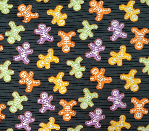 Glow Ghosts gingerbread men fabric by the yard