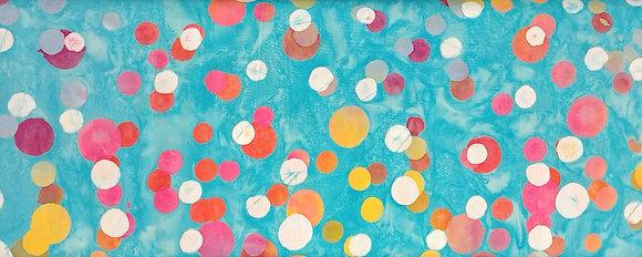 Color Me Banyan batik aqua dots fabric by the yard