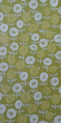 Circle Flowers in greens cotton/flax print