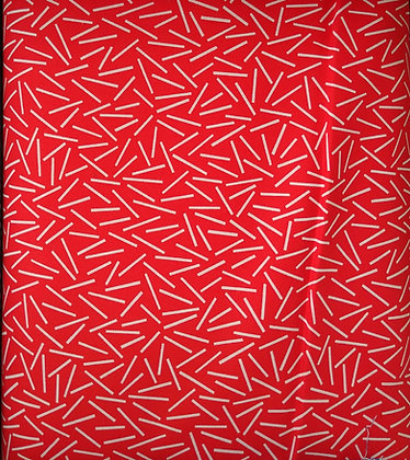 The Rain in Spain red and white sticks fabric by the yard