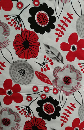Red Alert Large Flowers fabric by the yard