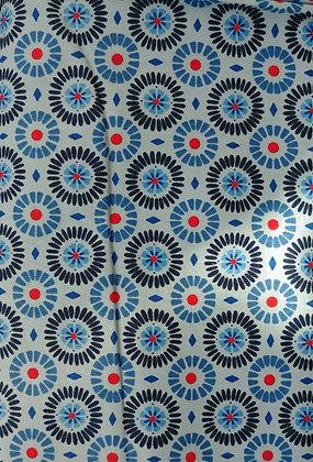 The Rain in Spain blue gears fabric by the yard