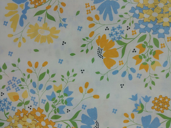 Spring Brook White with Yellow and Blue Flowers fabric by the yard