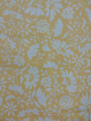 Spring Brook Yellow with White Flowers fabric by the yard