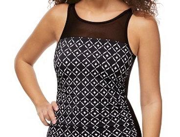 Asian Garden Half-Bodice High Neck Swimsuit - Black & white stars 71429