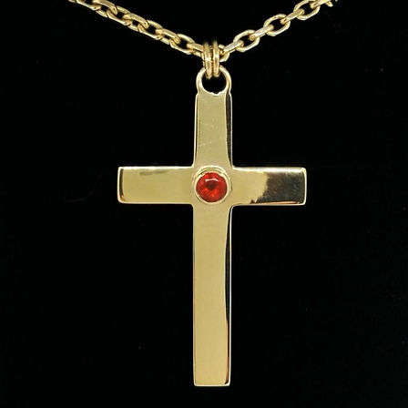 9ct Gold Cross with Fire Opal
