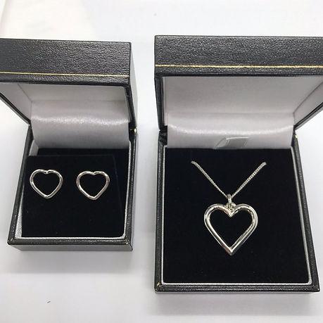 Handmade Bespoke Sterling Silver Heart Earrings & Pendant Set