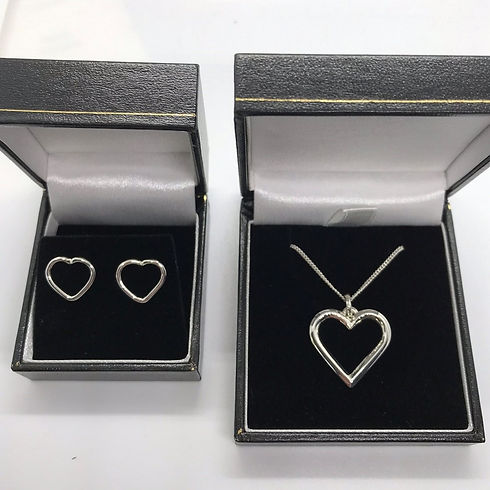 Handmade Bespoke Sterling Silver Heart Earrings & Pendant Set