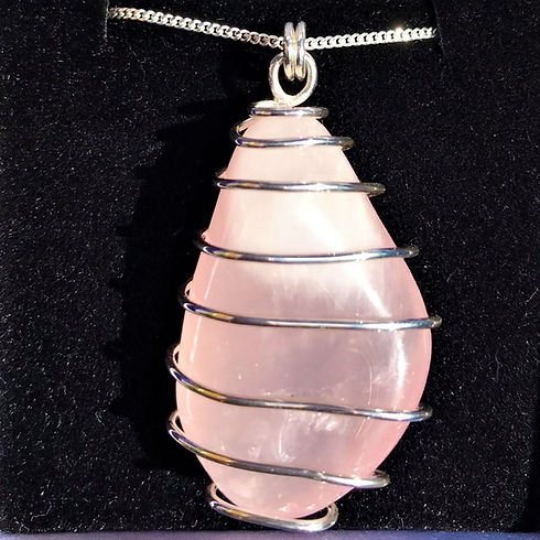 Handmade Customised Rose Quartz Silver Pendant