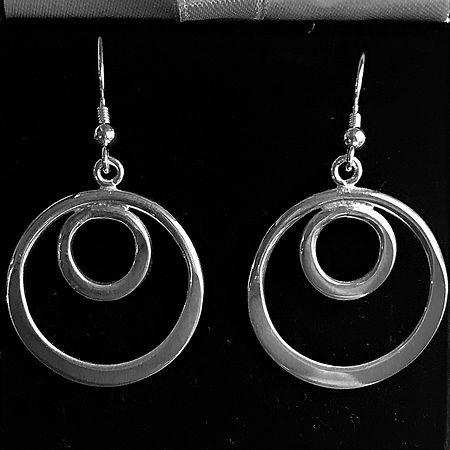 Bespoke Silver Double Hoop Drop Earrings