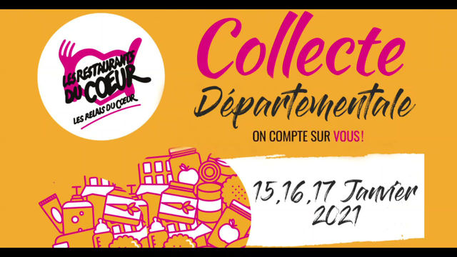 Collecte Départementale : 15, 16, 17 Janvier 2021