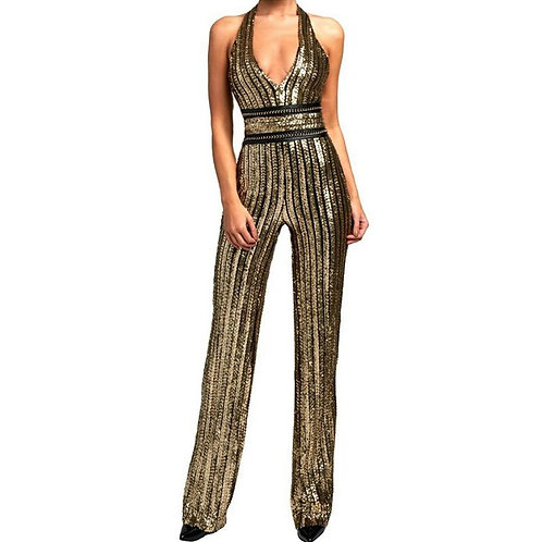 Gold Sequin Striped Jumpsuit