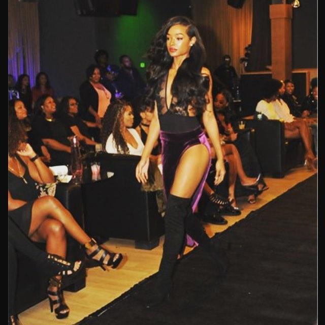 Model slaying KLASHAA x MCODE _mcodelux  Purple Velvet _Runway Killah_ skirt at _fashionloungetv fil