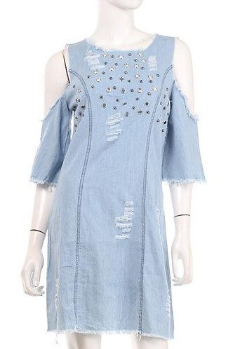 """Star Burst"" Studded Denim Dress"