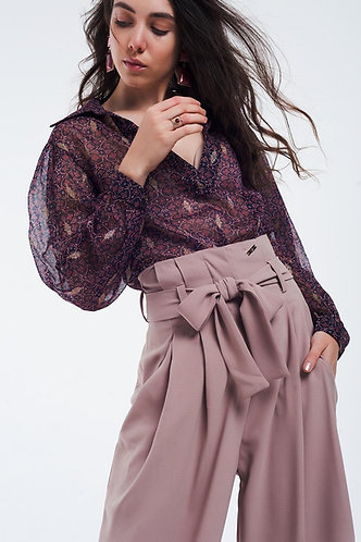 Maroon Coloured Blouse With Golden Details