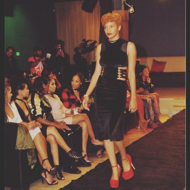 Model working #KlashaasCloset _Velvet Bondage_ Dress at fashion show for _fashionloungetv  hosted by