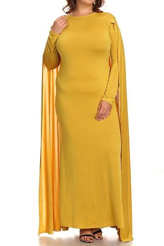 "Mustard ""Caped Goddess"" Dress"