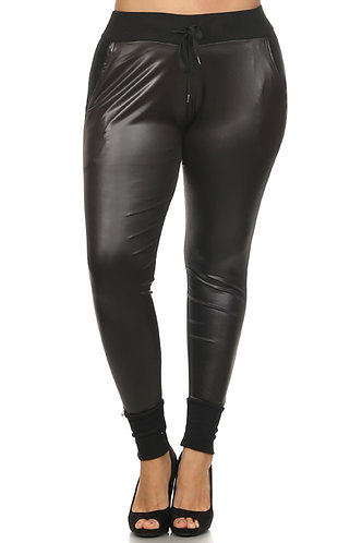 Curvy Girl Faux Leather Joggers