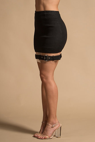 """Rebel""Black Denim Skirt"