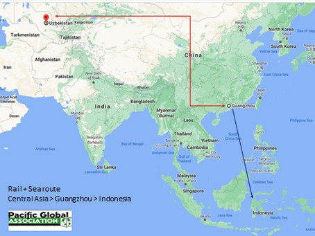 Rail+Sea route: Central Asia- Guangzhou-Indonesia