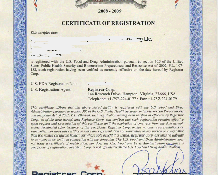 FDA certificates for certain medical equipment