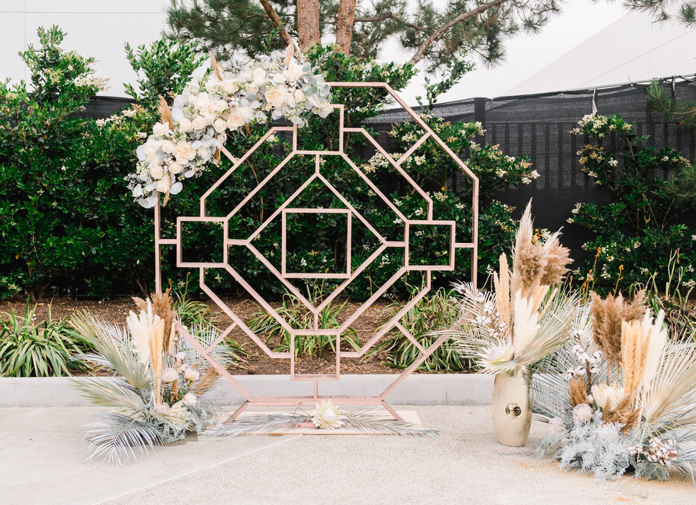 Geometric wedding backdrop