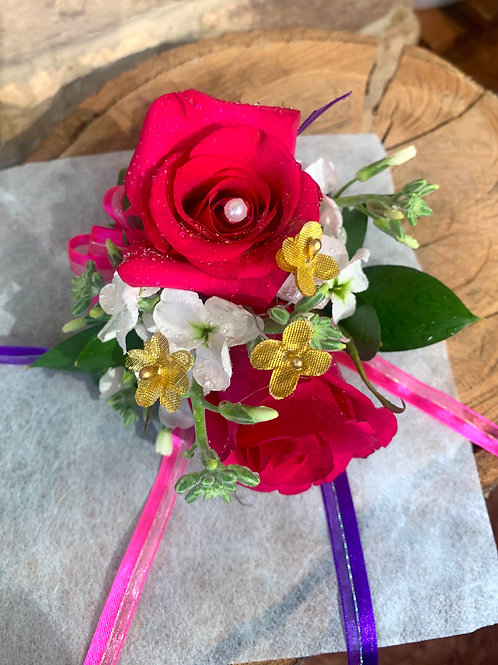 Dark Pink Rose and Gold Corsage/Boutonniere