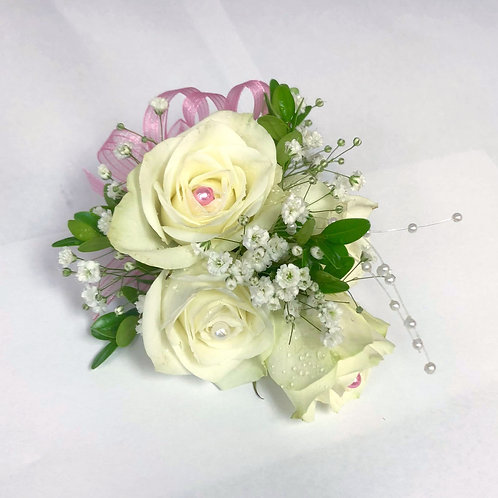 White and Pink Rose Corsage/Boutonniere