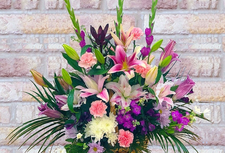 Pink and Purple Lily Basket