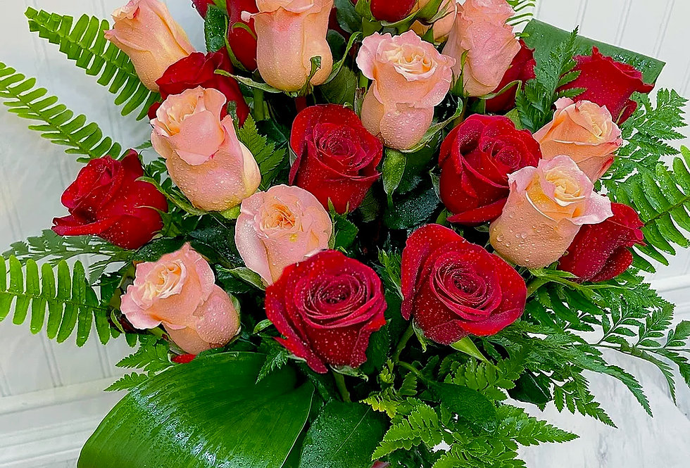 Fresh Coral and Red Roses