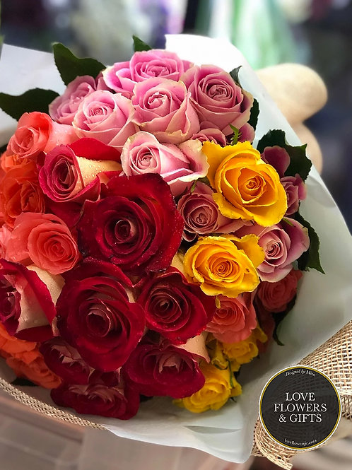 50 Assorted Roses (Hand-tied Bouquet)