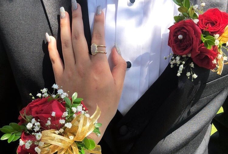 Red Rose and Gold Corsage/Boutonniere