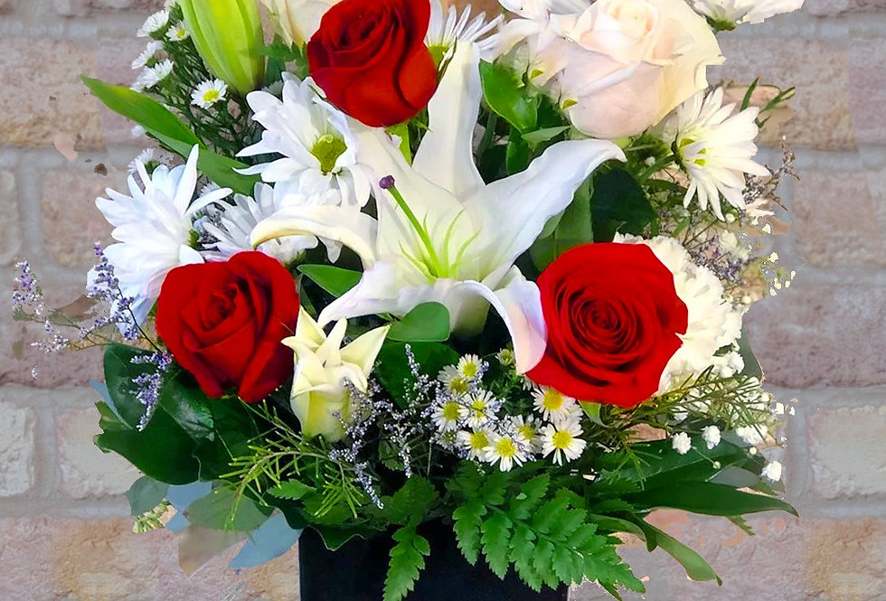 Red & White in Black Bouquet