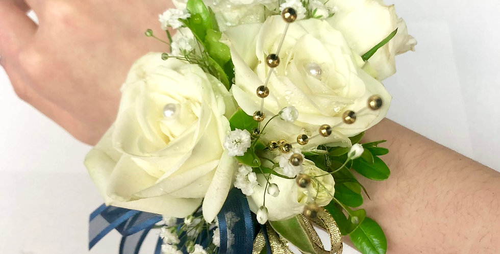 White Rose with gold and navy Corsage/Boutonniere